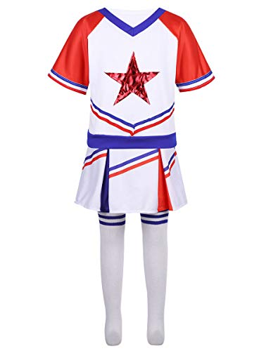 YiZYiF Little Girls' Youth Cheer Leader Uniform Outfit Short Sleeve Red Star School Cheerleading Camp Costume Cosplay White&Red -