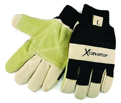 MCR Safety 940M X-Cavator Double Grain Pigskin Leather Palm Mining Men's Gloves with 2-Inch Elastic Cuff, Beige/Black, Medium