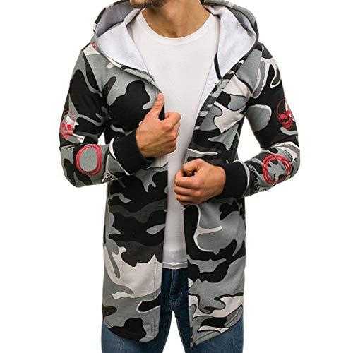 FANSHONN Men's Hooded Trench Coat Long Sleeve Lightweight Open Front Long Cardigan Jacket