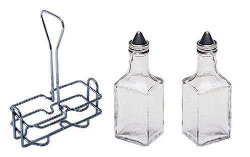 6 oz. (Ounce) Tabletop Oil and Vinegar Cruet Glass Bottle Bottles Cruets Dispenser w/Chrome Plated Caddy Holder, Two (2) Cruet (Oil Caddy Set)