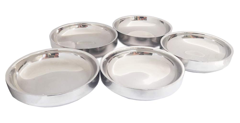"5pcs Vacuum Insulated Double Wall Skin 4.33"" Stainless Steel Table Small Dish Bowl Plate Set for Side Dish Sauce"