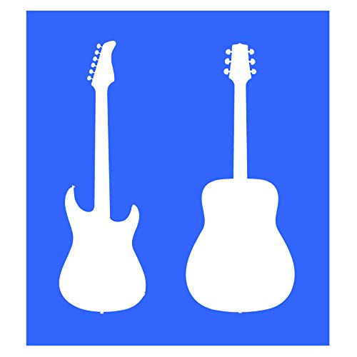 Auto Vynamics - STENCIL-MUSIC-GUITARS - Pair Of Acoustic & Electric Guitars Individual Stencil from Detailed Musical Instruments Stencil Set! - 9.5-by-10-inch Sheet - Single Design