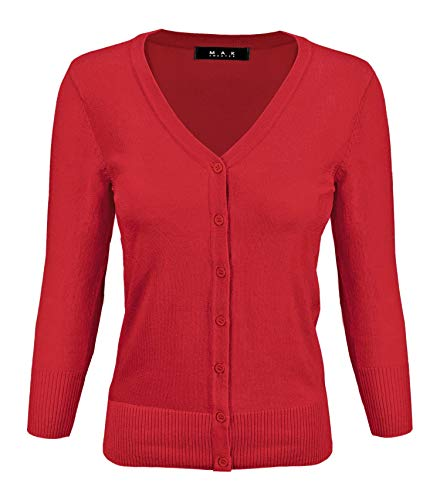 YEMAK Women's 3/4 Sleeve V-Neck Button Down Knit Cardigan Sweater - Sweater 3/4 Sleeve Knit
