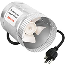 iPower 4 Inch 100 CFM Booster Fan Inline Duct Vent Blower for HVAC Exhaust and Intake 5.5' Grounded Power Cord