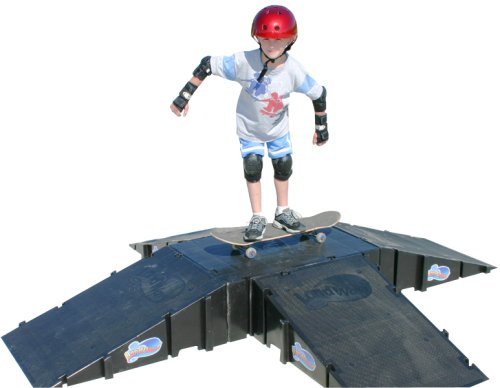 Ramp Plastic Skateboard (Landwave 4-Sided Pyramid Skateboard Kit with 4 Ramps and 1-Deck)