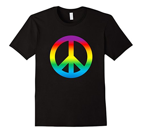 Mens Rainbow Peace Sign T Shirt Hippy 1960s 2XL Black