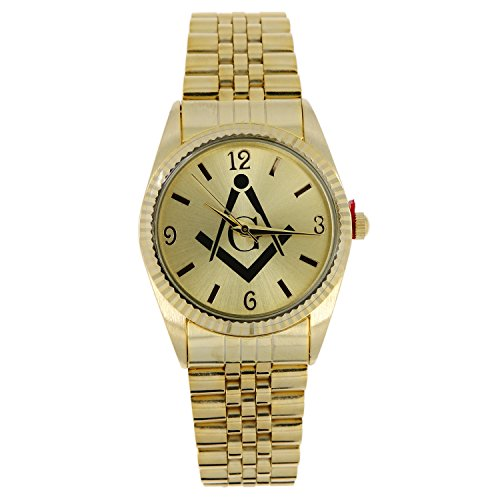 Brand New Men's Freemason Masonic Mason Watch - Gold Tone with Free Engraving