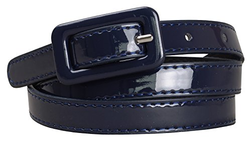 Patent Buckle - Womens Covered Buckle Patent Leatherette Skinny Belt (XL(39.5-43.5), Navy)