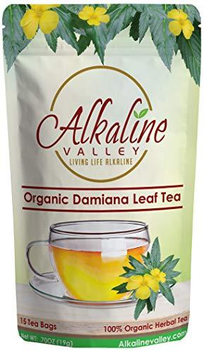 Organic Damiana Tea - 100% Alkaline - 15 Unbleached/Chemical-Free Damiana Tea Bags - Caffeine-Free, No GMO