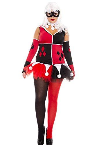 Harley Quinn Costume Plus Size (Music Legs Women's Plus Size Harley Jester Costume -)
