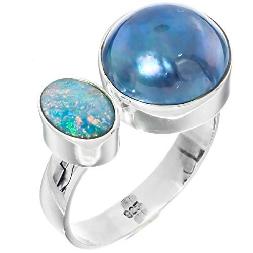 Size 6 Blue Mabe Cultured Pearl Natural Opal Doublet 925 Sterling Silver -