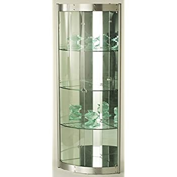 Chintaly Imports Corner Curio Cabinet with Mirror Interior, Clear/Silver