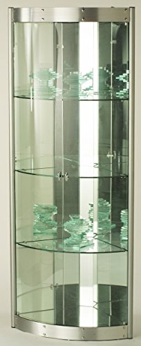 Chintaly Imports Corner Curio Cabinet with Mirror Interior, Clear/Silver by Chintaly Imports