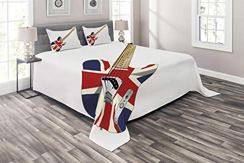Ambesonne Union Jack Coverlet, Classical Electric Guitar UK Flag Britain Music Instrument, 3 Piece Decorative Quilted Bedspread Set with 2 Pillow Shams, King Size, Pale Brown Grey Black (Grey And Black Union Jack Bedding Sets)