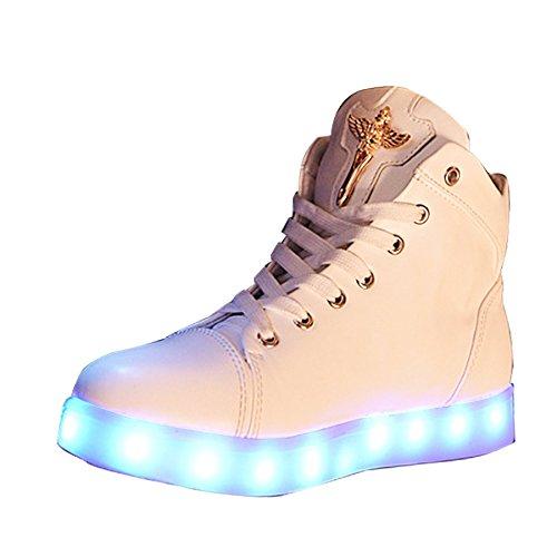 (Presente:pequeña toalla)JUNGLEST® LED Light 7 color Shoes zapatillas para hombre USB carga de techo luces intermitentes de calzado de deportes zapati c19