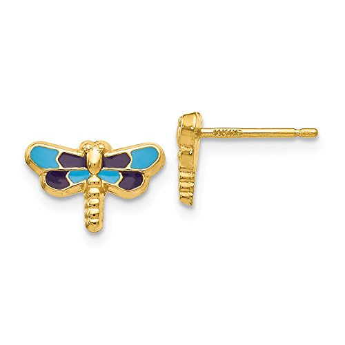 Real 14kt Yellow Gold Enameled Dragonfly Earrings