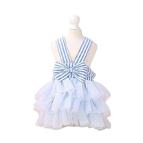 Tortoise Dog Costumes (Zerotone Princess Braces Skirt Tutu Dress for Small Pet Dog Cate Thick Stripes Blue L)