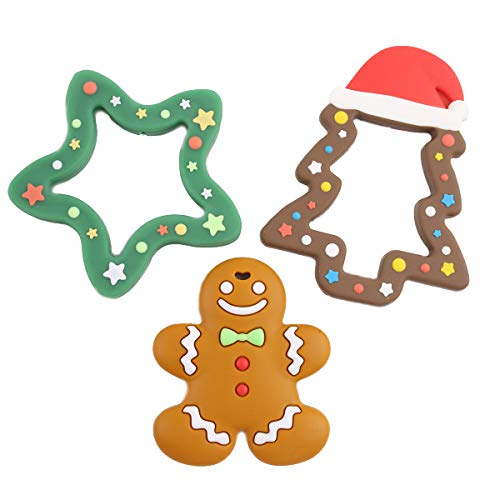 Promise Babe Teether Toddler Toys,Silicone Teething Toys,Christmas Tree Gingerbread Man Pendant Nursing Jewelry Necklace Chewing Accessories Shower Gift Montessori Toy