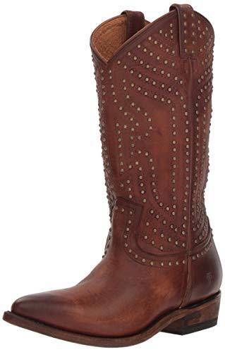 FRYE Women's Billy Stud Pull On Western Boot, Cognac, 7.5 M US