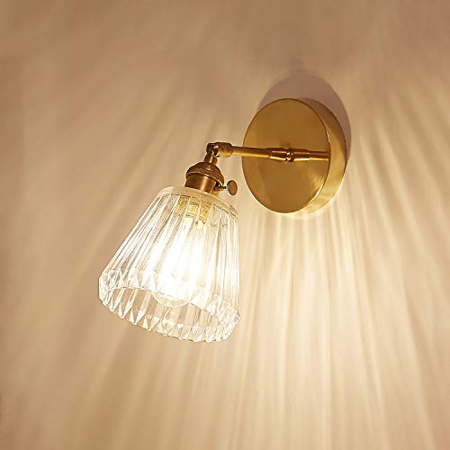 - 1 Light Adjustable Hardwire Sconce with Ribbed Glass, NIUYAO Vintage Glass Wall Sconces Wall Lighting Country Style Swing Arm Lamp in Brass