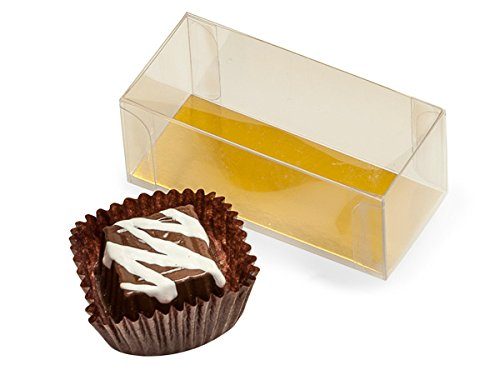 Clear Truffle Boxes - 2 Pc Clear Truffle Boxes W/Gold Bottoms 2 - 3/4x1 - 1/4x1 - 3/16