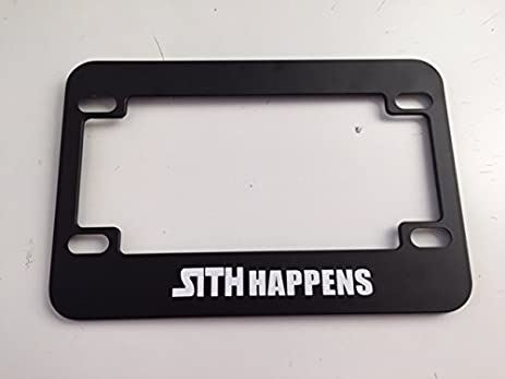 Awesome Sith Happens   Black Motorcycle / Scooter License Plate Frame   Storm  Trooper Darth Vader Style