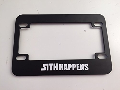 Sith Happens - Black Motorcycle / Scooter License Plate Frame - Storm Trooper Darth Vader Style