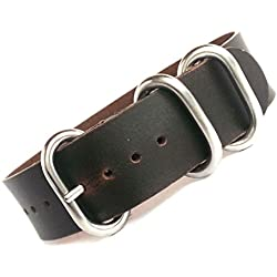 time+ 20mm 3-ring NATO ZULU Oil Leather Military Watch Strap Black Brown