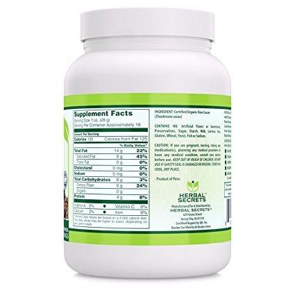 Herbal Secrets USDA Certified Organic Raw Cacao Powder 16 Oz (1 LB) 90 Approx. Servings - RAW , VEGAN & GLUTEN FREE
