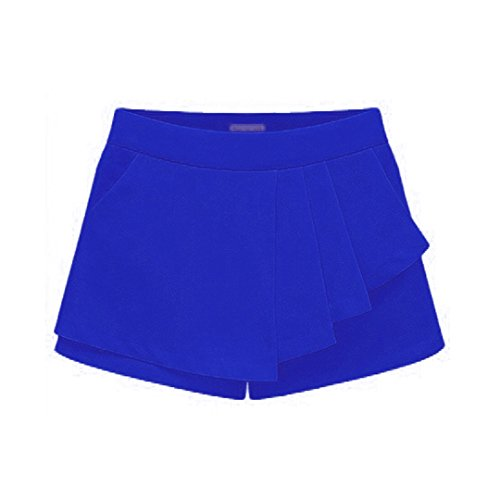 Aisa Fashion & Stylish Summer Falbala Shorts Casual Style Skirts for Women (Size L Color Blue)