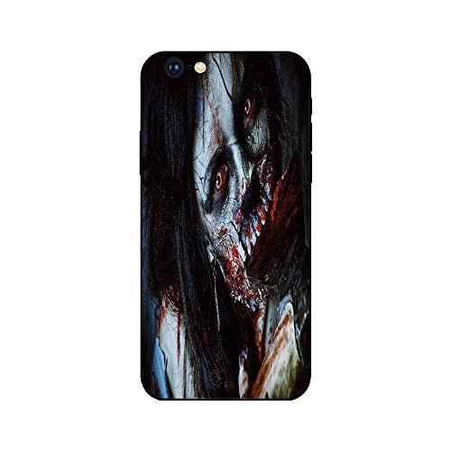 Phone Case Compatible with iphone6 iphone6s mobile phone covers phone shell Brandnew Tempered Glass Backplane,Zombie Decor,Scary Dead Woman with Bloody Axe Evil Fantasy Gothic Mystery Halloween Pictur