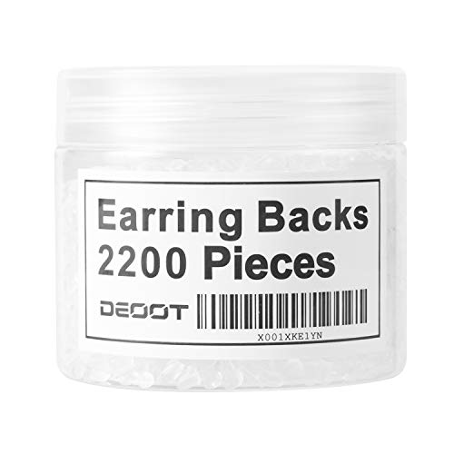 Earring Backs,Deoot 2200 Pieces Silicone Earring Backings Lifters Soft Clear Ear Safety Back Pads Backstops Bullet Clutch Stopper Replacement for Fish Hook Earrings,Studs Hoops