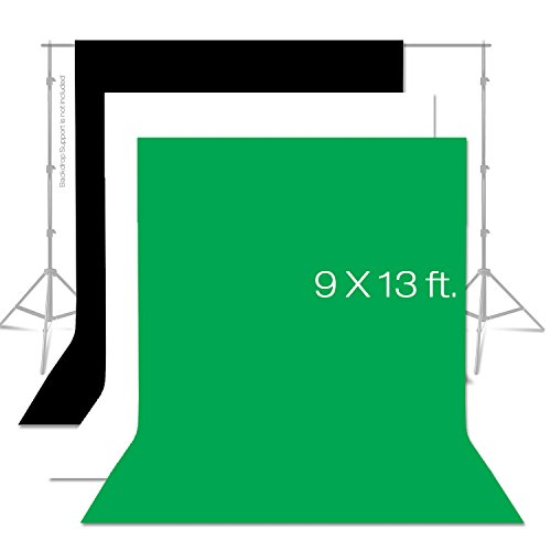 Julius Studio 9 x 13 ft. Photo Studio Chromakey Background Muslin Backdrop Bundle Kit, Black, White, Green Premium Quality Fabric Material, Wrinkle Resistant, Photo Video Studio, JSAG312 (13 Backdrop)