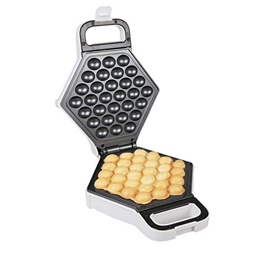 (Bubble Waffle Maker- Electric Non stick Hong Kong Egg Waffler Iron Griddle (White)- Ready in under 5 Minutes)