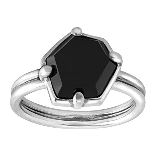 Silpada 'Black Hex' Sterling Silver Ring, Size (Agate Ring Jewelry)