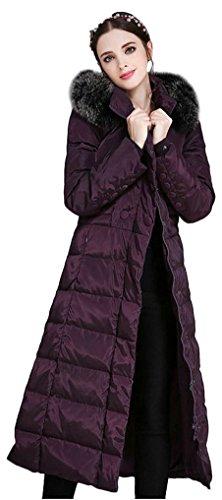 ilishop Women's Thickened Winter Coat Maxi Down Jackets with Hood Purple 16