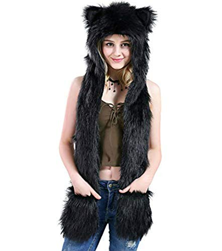 Black Panther Faux Fur Animal Spirit Hood Anime Scarf Mittens Gloves Scarf 3 in 1 Zipper Pocket -