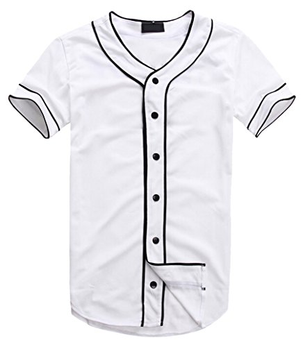 AKP Mens Hipster Hip Hop Button-Down Baseball Jersey Short Sleeve Shirt (M, White 01)