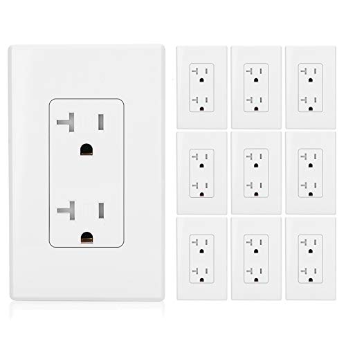 ([10 Pack] BESTTEN 20A Tamper-Resistant Electrical Outlets, TR Receptacles with Decorator Screwless Wall Plates, Self-Grounding, Residential and Commercial Grade, UL Listed, White)