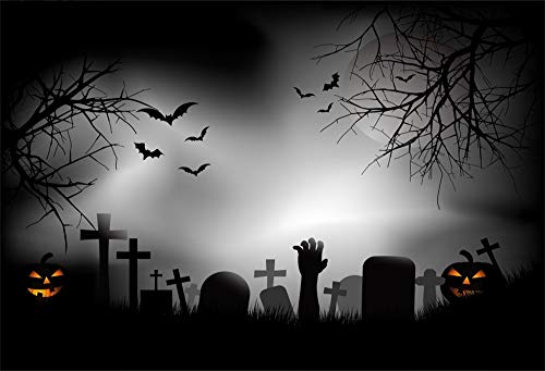 AOFOTO 10x8ft Night Graveyard Scene Halloween Backdrop Vinyl Outdoor Wild Field Scary Hand Jack O Lantern Cemetery Cross Headstone Gravestone Photography Background Photo Studio Props