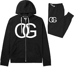 Kings Of NY OG Original Gangsta Mens Sweat Suit Hoodie Pants Black Large
