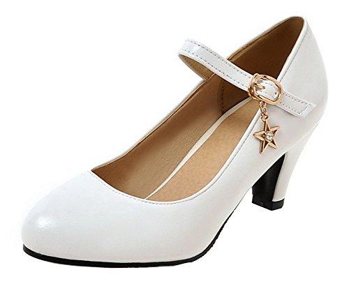 AgeeMi Donna Shoes Flats Fibbia Punta Tonda Luccichio Tacco Ballet Medio Bianco r6r5dqw