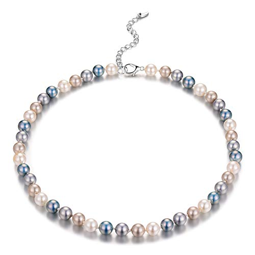 - Bulinlin Beaded Strand Pearl Choker Necklace - Fashion Jewelry Birthday Gifts for Women Girls (15-8mm Grey Blue)
