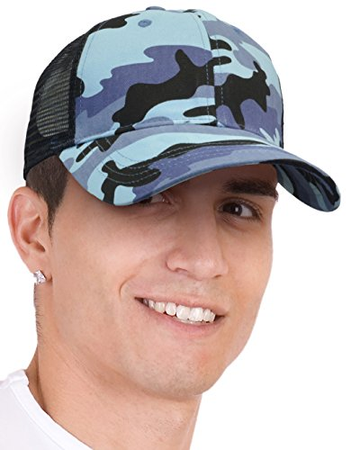 KC Caps Unisex Retro Trucker Hat Fashion Snow Camouflage Adjustable Mesh Cap