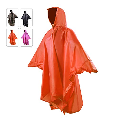 REDCAMP Waterproof Rain Poncho with Hood and Arms for Camping Hiking, 3 in 1 Multifunctional Lightweight Reusable Raincoat Poncho for Men Women Adults Orange (Best Backpacking Rain Jacket)