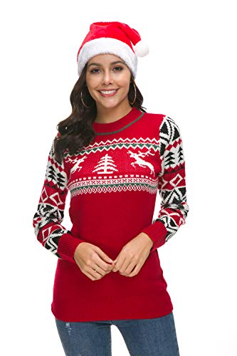 (Hanlolo Teengirls Ugly Sweater Reindeer Long Sleeve Pullover Jumper Shirts Red L)