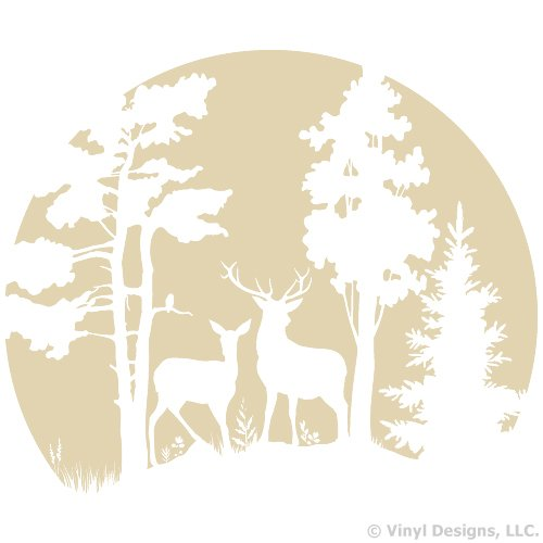 Buck and Doe Deer in the Moonlight, Hunting Vinyl Wall Decal Sticker Art, Removable Home Decor, Mural, Cream