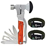 Rbenxia 16-in-1 Portable Hammer Tool Stainless Steel Multi-Functional Hatchet Tool with 2 Packs Adjustable Survival Bracelets for Camping, Hunting, Emergency