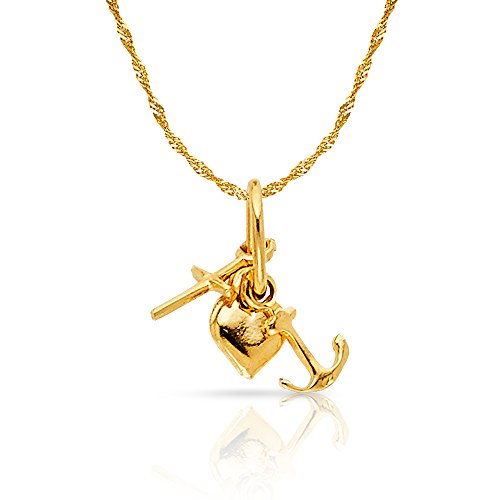 Charity Pendant Charm - 14K Yellow Gold Faith, Hope, and Charity Lucky Charm Pendant with 0.9mm Singapore Chain Necklace - 22