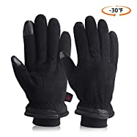 Cold Winter Gloves With Suede Leather Warm Protection Thermal Insulation Cold Resistance -30?